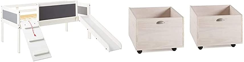 DONCO Twin Art Play Junior Low LOFT, White Wash/Dark Grey & Kids Junior Low Loft Toy Box, White Wash Dark Grey