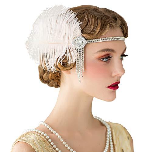 SWEETV Flapper Bandeaux Femmes Années 1920 Headpiece Great Gatsby Inspiré Plume Bandeau Cocktail Party Accessoires De Cheveux pour les femmes, Blush Rose