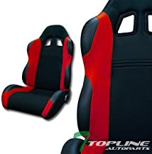 Topline Autopart Universal 2X TS Sport Style Black PVC Leather & Red Microfiber Fabric Stitch Reclinable Racing Bucket Seats with Slider