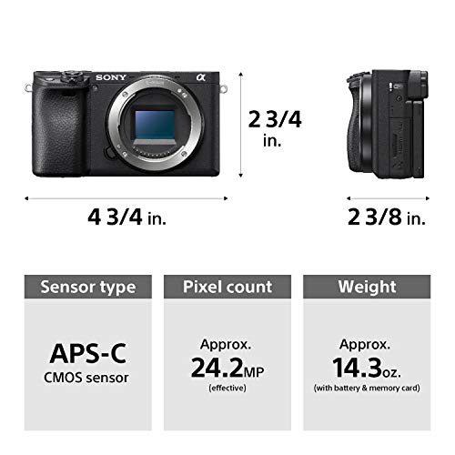 Sony Alpha a6400 Mirrorless Camera: Compact APS-C Interchangeable Lens Digital Camera with Real-Time Eye Auto Focus, 4K Video & Flip Up Touchscreen - E Mount Compatible Cameras - ILCE-6400/B Body