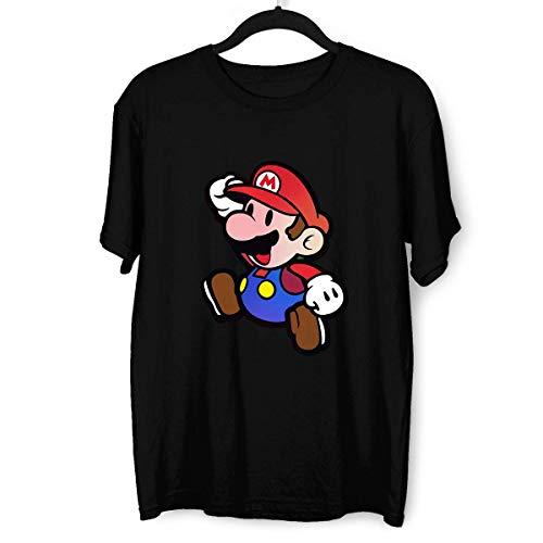 KuziTees, maglietta da uomo Super Mario Jumping Enorme petto con stampa sul Nintendo Gamer Xbox PS4 SNES Retro Minds Nero L