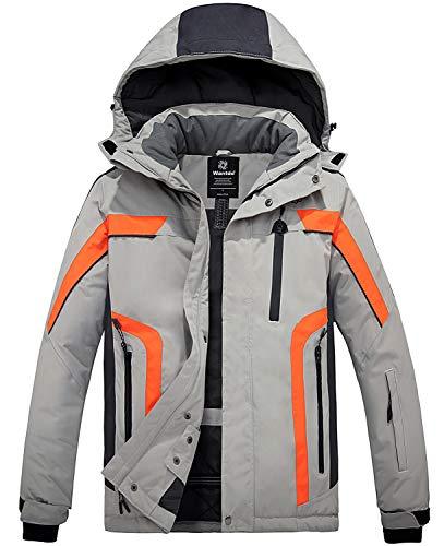 Wantdo Herren wasserdichte Skijacke Winddichter Sportmantel für den Außenbereich Warme Winterschneemäntel Berg Outdoor Jacke Grau+orange XL