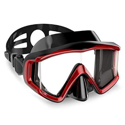 SQDYJ Duikbril, waterdicht en beslaat niet, 180 graden, geschikt voor mannen en vrouwen, volwassenen, duiken met zwemmen, rood