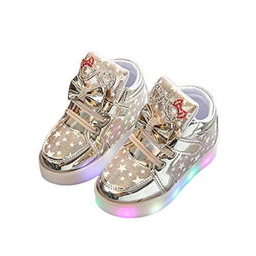 Lazzboy Kleinkind Baby Mode Turnschuh Stern Leuchtendes Kind Beiläufige Bunte Helle Schuhe Turnschuhe Sterne Leucht Casual Licht Mesh Sommer Sportschuhe(Gold,30)