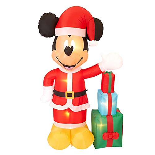 Gemmy 7Ft.Tall Inflatable Christmas Mickey Mouse Dressed in Santa Suit with Presents Airblow Indoor/Outdoor Holiday Decorations