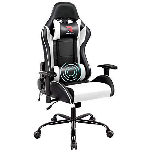 Rimiking Massage Computer Gaming Chair-High Back PU Leather Swivel Adjustable Armrest Ergonomic with Soft Headrest&Backrest White