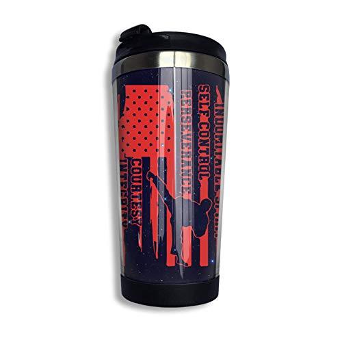 Taza de café coreana de Taekwondo americano con bandera de EE. UU. Con tapa para té, café, taza de café de viaje, acero inoxidable, 400 Ml