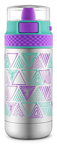 Ello Ride Vacuum Insulated Stainless Steel Water Bottle with One-Touch Push Button, 14 oz, Mint/Purple