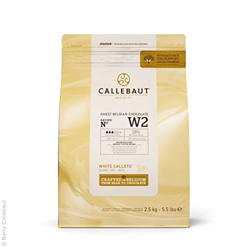 Callebaut Recipe No. W2 Finest Belgian White Chocolate With 28% Cacao, 22% Milk, 5.51 Pound