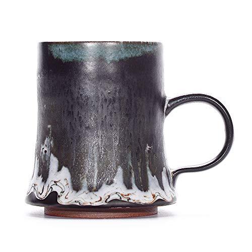 Vintage Handmade Coffee Mug Stoneware Mug Tea Cup Creative Mixed Glazing Mug (White Flame)