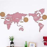 壁掛け時計 掛け時計 世界 地図、世界地図壁掛け時計大型モダンデザイン、装飾的な壁時計電池式非カチカチ音をたてる、DIYウォールクロック世界地図ラージモダン木製クォーツ3Dパズル時計、137X63cm,Pink01