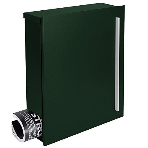Design-Briefkasten mit Zeitungsfach tannen-grün (RAL 6009) MOCAVI Box 110 Postkasten mit Zeitungsrolle Wandbriefkasten groß modern deutsche Qualität DIN A4