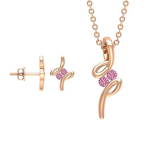 Rosec Jewels 18 quilates oro rosa redonda Pink Tourmaline