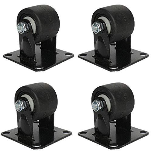 4 unids giratoria rueda de ruedas industriales, ruedas de muebles en nylon, negro, trabajo pesado, placas superiores de 360 °, centro de gravedad bajo, resistente al desgaste, carga máxima 1200 kg,