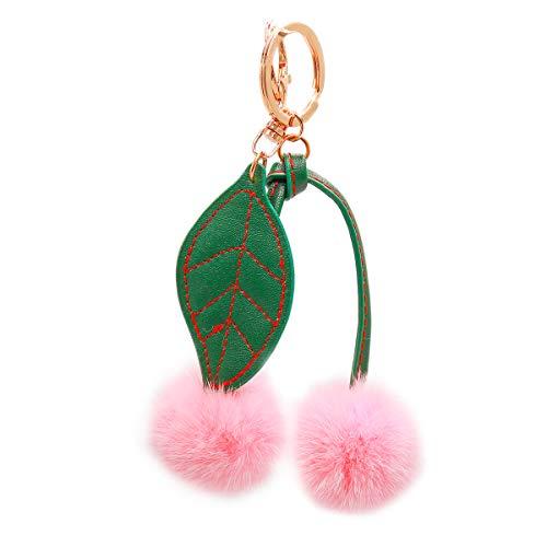 Surell - Genuine Mink Fur Cherry Keychain - Cute Classic Foodie Pompom Fob Kawaii Accessory with Keyring- Fur Fluffy Ball Key Chain - Cute Round Fuzzy Plush Bag Charm - Adorable Gift (Pink)