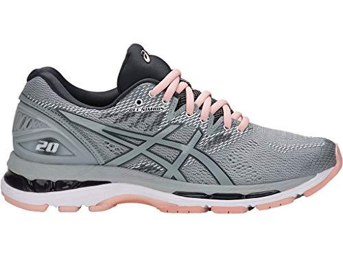 ASICS Women's Gel-Nimbus 20 Running Shoe, mid grey/mid grey/seashell pink, 8.5 Medium US
