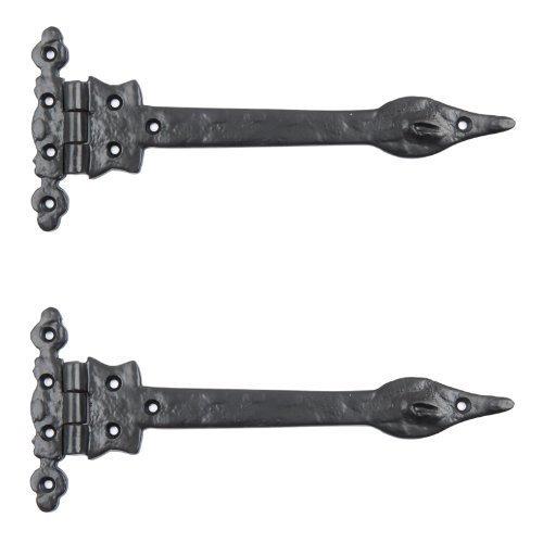 Black Cast Iron Spear Hinges Leaf Design Pair Of New (12