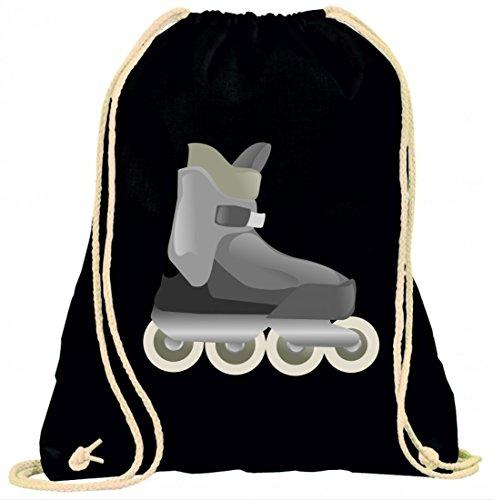 Druckerlebnis24 Turnbeutel Skate- Inline- Rollerblades- SKATEN- Sport- Fitness- Boot- Inline Skating- Rollerskating- SPAß- ERHOLUNG- mit Kordel - 100% Baumwolle- Gymbag- Rucksack- Sportbeutel