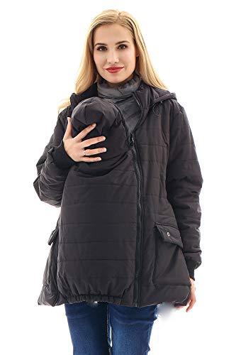 Bearsland Maternity Babywearing Pregnancy Jacket Coat Mother's Down Duffle Coat with Windproof Waterproof,Black,L