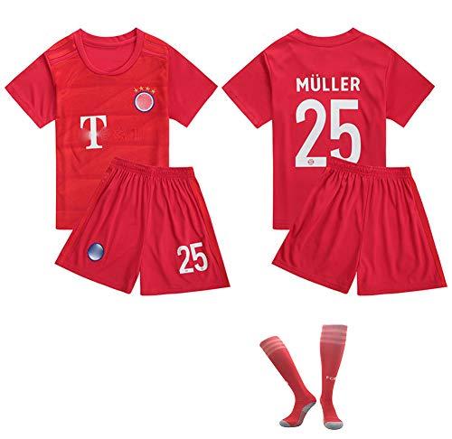 # 25 Müller Fußballuniform Trikot Jersey,Outfit Kinder Kind Kurzarm Shorts Socken Trainingsbekleidung Wettbewerb Anzug Tanktops Fan Edition Geschenk Training Kit T-Shirt red-26