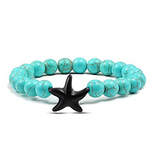 Estrella De Mar Azul Verde Turquesas Brazaletes Con Cuentas Pulseras Joyas Con Dijes De Playa Estrella De Mar Pulsera De Piedra Natural Regalos De Pareja
