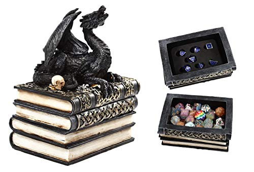 Forged Dice Co. Dragon Treasure Book Dice Box with Custom Foam Insert - Container Displays 7 Individual Dice or Holds 8 Complete Polyhedral Dice Sets 56 Total Dice - Storage for DND RPG Tabletop Dice