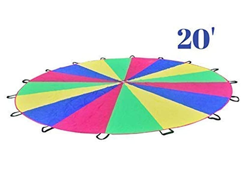 Parachute Kids 20ft - Giant Kid's Play Parachute Canopy 20 Foot 16 Handles | Kids Parachute Outdoor Games Exercise Toy | Promote Teamwork, Fitness, Social Bonding | Games Kids Ages 3+