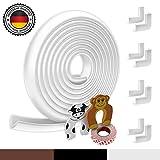 Protector de espuma para bordes del bebé | Original Hoffenbach Alemania | Negro, marrón, blanco | 6,2m protector de borde de mesa, 8x protector de esquinas, 2x protección para dedos