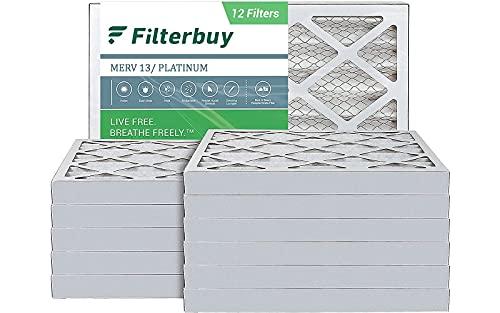 FilterBuy 16x20x2 Air Filter MERV 13, Pleated HVAC AC Furnace Filters (12-Pack, Platinum)