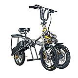 YHKJ Patinete Electrico Adulto, UrbanBike Eléctrico Plegable Movilidad Potencia Recreativo Scooters Viaje Eléctricos Portátiles Ligeros De 3 Ruedas,Gris,A