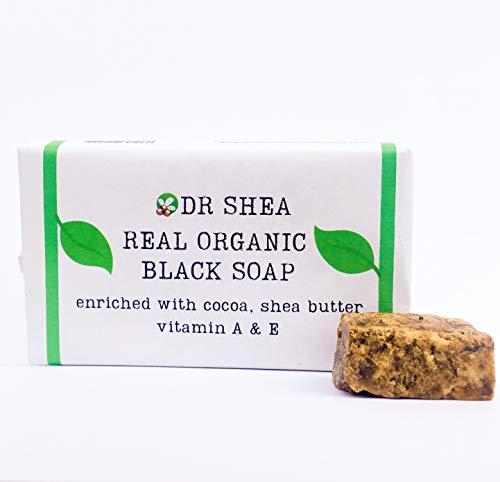 Jabón negro africano orgánico de 100 g - Jabón antibacteriano para el cuerpo y las manos - Eccema, piel seca, psoriasis, eliminación de cicatrices, limpiador facial. Gel de baño y humectante.