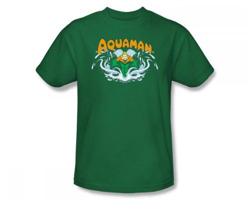 Aquaman - - Adulte Fit Splash Slim T-shirt En Vert Kelly, Large, Kelly Green