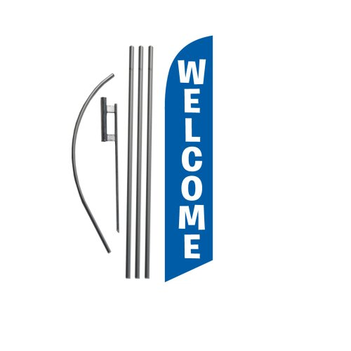 FFN Welcome Feather Flag Kit with Ground Stake 15 foot Blue Welcome Sign Set FFN5535