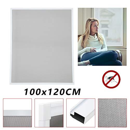 Vingo® Fliegengitter Fenster Fiberglas Mückenschutz Weiß Insektenschutzgitter UV-Schutz Insektenschutz Gaze Alu Rahmen Wasserdicht Montage ohne Bohren Balkone Fenster (100X120CM)