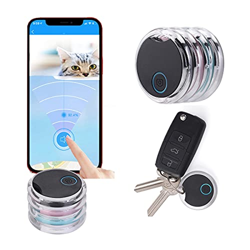 4 Pack Smart Bluetooth Tracker & Bluetooth Key Finder – Key Locator Device with App GPS Tracking Device for Kids Pets Keychain Wallet Luggage APP Control Compatible iOS Android