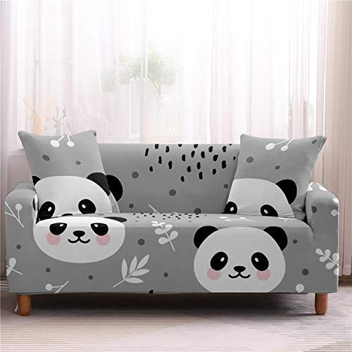 Fundas de sofá elásticas gruesas para sillón, funda de sofá gris con estampado de panda de licra suave con protector de muebles para mascotas y niños, 4 plazas, 235,300 cm