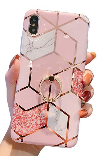 Qokey Compatible with iPhone Xs Max Case,Marble Case Cute Fashion for Men Women Girls with 360 Degree Rotating Ring Kickstand Soft TPU Shockproof Cover Designed for iPhone Xs Max 6.5 Inch Bling Pink