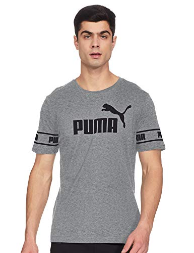 PUMA Amplified Big Logo T-Shirt Homme Medium Gray Heather FR : XL (Taille Fabricant : XL)