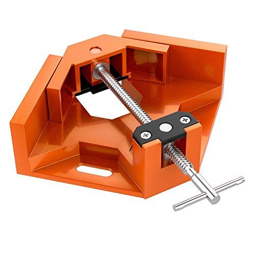 Housolution Abrazadera de Ángulo Recto de 90 Grados, Clip de Esquina de Sola Manija de Aleación Aluminio, para Marco de Fotos de Carpintería Presilla con Mandíbula Oscilante Ajustable - Naranja
