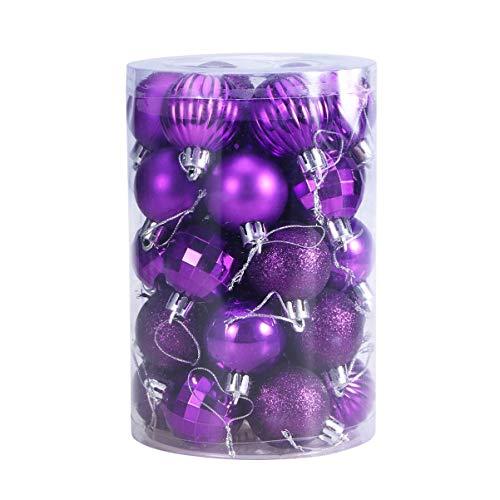 STOBOK 34 pezzi ornamenti per palline di natale palline sospese infrangibili da 40 mm per decorazioni natalizie per vacanze di nozze (viola)