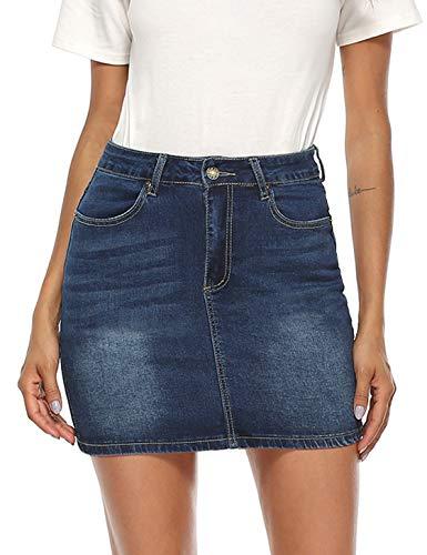 YAWOVE Women's Casual Distressed Frayed Pencil Short Denim Skirt Dark Blue
