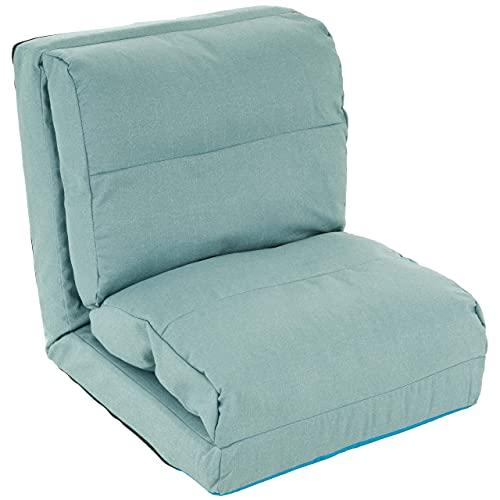 Schlafsessel Hellblau 220x60x14 cm verstellbar Comfort Jugendsessel Gästebett klappbar Sitzsack Klappbett Sessel Bodensofa Lounger Einzelsofa Multifunktionsstuhl Faule Couch