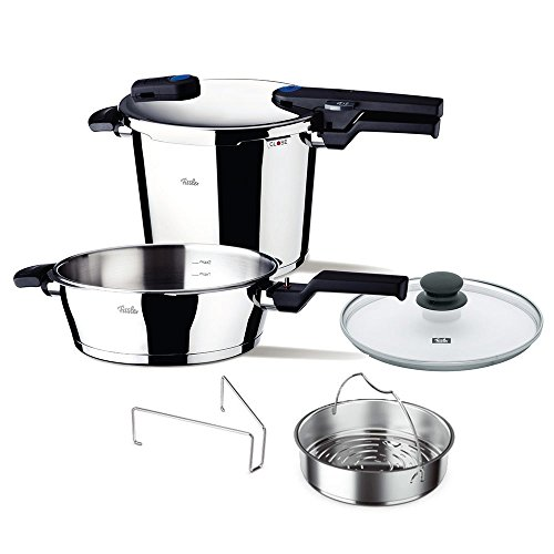 Fissler vitavit Pressure Cooker Set of 6 with Skillet, Glass-Lid and Insert, 6qt, Stainless Steel