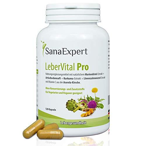 SanaExpert LeberVital Pro, Nahrungsergänzung für Leber & Galle, Mariendistel Curcuma Löwenzahn Artischocke Acerola, 120 Kapseln