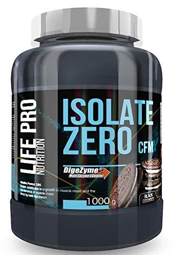 Life Pro Isolate Zero 1Kg   Suplemento Deportivo de Proteína de Suero Aislada, Suplemento Proteísnas para Mejora y Crecimiento del Sistema Muscular, Aumenta Resistencia, Sabor Black Cookies