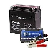 バイクバッテリー充電器+YTX14-BSセット■■台湾ユアサ(YUASA)【長寿命・保証書付】【日本語説明書付き】