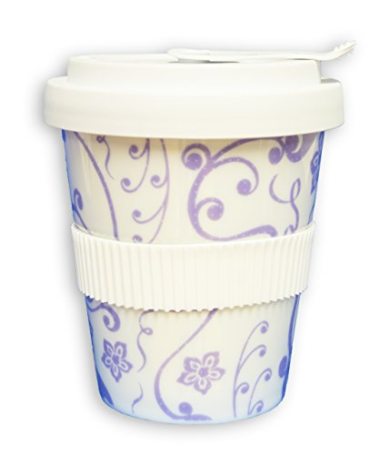 Coffee to Go Becher - Coffee2Go - Porzellan - Travel Mug - Mahlwerck Motiv: Blume Violett