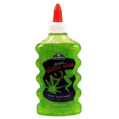 Elmer's Liquid Glitter Glue, Washable, Green, 6 Ounces, 1 Count - Great For Making Slime