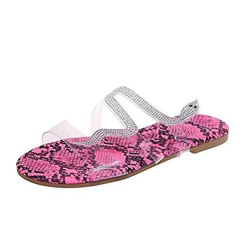 Sandalia Delicada,Zapatillas de perforación de Agua en Forma de Serpiente, Zapatillas Planas de la Playa de la Playa-Rojo_38,Sandalias Wave