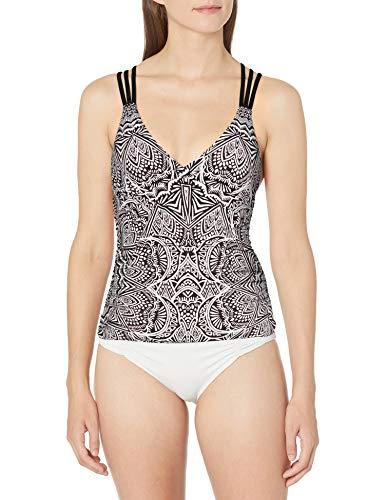 La Blanca Women's Standard Multi Strap Cross Back Tankini Swimsuit Top, Black/White//Henna Medallion, 4